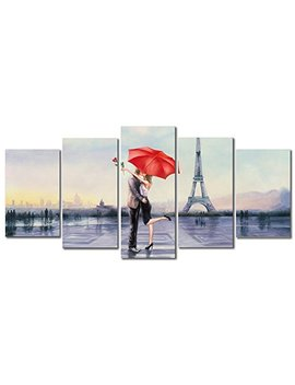 Pyradecor Giclee Canvas Prints Wall Art Love In Paris By Oil Paintings Reproduction Red Umbrella Pictures For Living Room Bedroom Home Decorations Modern 5 Piece Stretched And Framed Romance Artwork by Pyradecor