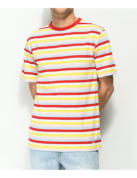 Zine Bonus Stripe Red, White, Yellow & Blue T Shirt by Zine