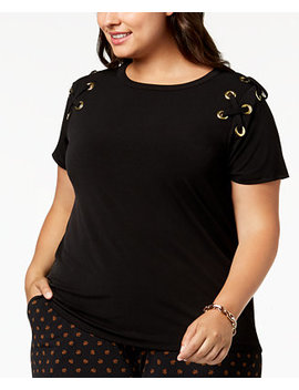 Plus Size Lace Up T Shirt by Michael Michael Kors