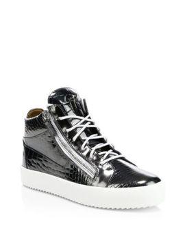 Snake Print Double Zip Sneakers by Giuseppe Zanotti