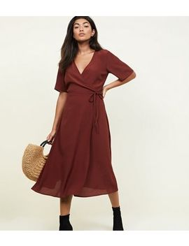 Rust Wrap Front Midi Dress by New Look