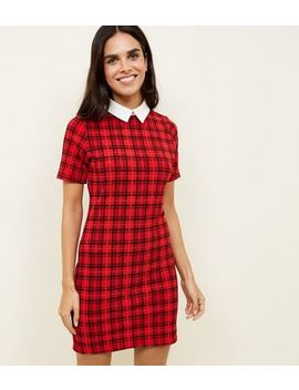 Cameo Rose Red Check Collared Dress by New Look