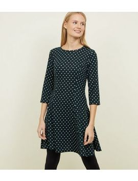 Blue Vanilla Dark Green Spot Print Dress by New Look