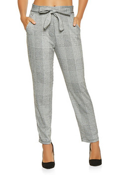Plaid Tie Front Pants by Rainbow