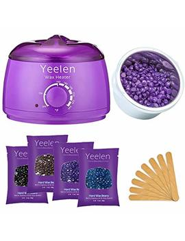 Yeelen Hair Removal Kit Hot Wax Warmer Waxing Kit Wax Melts With 4 Flavors Hard Wax Beans(14.1oz ) And 10 Wax Applicator Sticks For Painless Wax Of Legs, Face, Body, Bikini Area by Yeelen