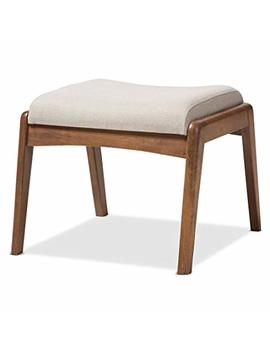 Baxton Studio Elyse Walnut Wood Light Beige Fabric Upholstered Footstool, Chair by Baxton Studio
