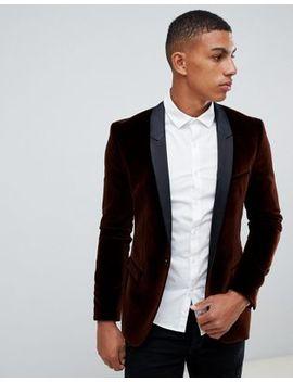Hugo Arti Extra Slim Fit Velvet Blazer Jacket With Satin Lapels In Brown by Hugo