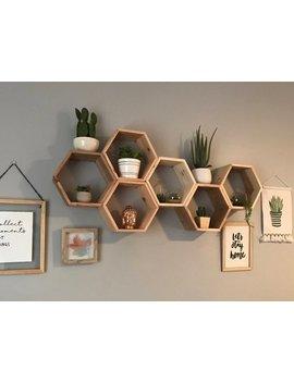 "Set Of 5 Medium Hexagon/Honeycomb Shelves (Reclaimed Wood) 5.5"" Deep by Etsy"