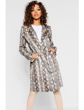 Snake Suedette Trench Coat by Boohoo