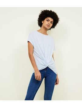 Pale Blue Twist Front Fine Knit T Shirt by New Look