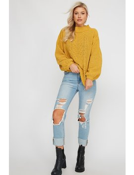 Soft Mock Neck Cable Knit Sweater by Urban Planet
