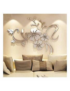 Yingyuan 1 Piece Set Acrylic Art 3 D Mirror Flower Wall Sticker Diy Home Wall Decal Decoration Sofa Tv Wall Removable Wall Sticker 120 X90cm (Silver) … (Sliver) by Yingyuan