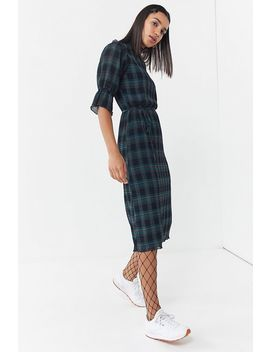 The Fifth Label Tartan Ruffle Trim Midi Dress by The Fifth Label