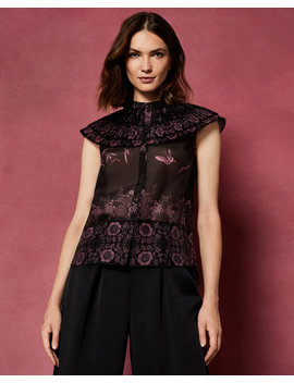 The Orient Ruffle High Neck Top by Ted Baker
