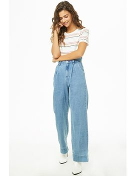 Pleat Front Wide Leg Jeans by Forever 21