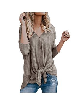 Clearance!! Ssyino Womens Blouse Womens Loose Knit Tunic Tie Knot Henley Tops Batwing Plain Shirts by Ssyuno Women