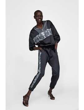 Jogging Pants With Snakeskin Print Stripe  View All Pants Woman by Zara