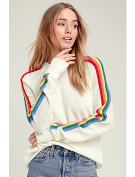 Sunshine And Rainbows Ivory Rainbow Stripe Sweater Top by Rd Style