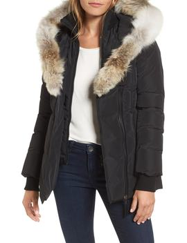 Hooded Down Parka With Inset Bib & Genuine Fox Fur Trim by Mackage