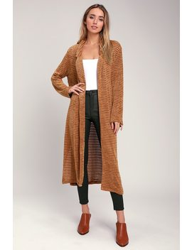 Tressa Camel Chenille Striped Long Sweater by Lush