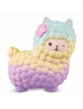 Vlampo Llama Squishy Toys, Jumbo Alpaca Squishies, Slow Rising Giant Kawaii Pat Sheep Stress Relief Toy, 7.1'' Big Cute Squeeze Dolls Decoration For Kids & Adults (Rainbow) by Vlampo