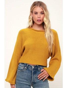 Bb Talk Mustard Yellow Cropped Knit Sweater by Jack By Bb Dakota