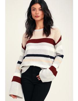 Penley Grey Multi Striped Bell Sleeve Knit Sweater by Olive + Oak