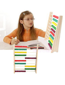 Wooden Abacus 10 Row Colorful Beads Counting Kid Maths Learning Educational Toy by Unbranded