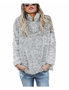 Janyn Women's Long Sleeve Fleece Sherpa Quarter Zip Sweater Pullover Blouse Tops by Janyn