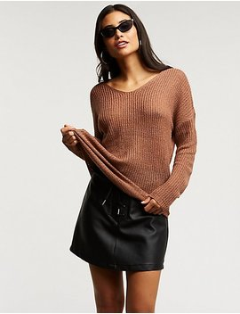 V Neck Pullover Sweater by Charlotte Russe