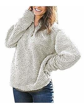 Hunleathy Women's Winter Warm Fleece Pullover Fashion Solid Zippered Sherpa Tops by Hunleathy