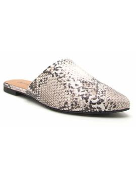 Qupid Women's Swirl 126 Snake Skin Flat Mules by Qupid