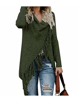 Ceasikery Women's Tassel Hem Sweater Long Cardigan Knitwer Pullover Poncho Coat by Ceasikery