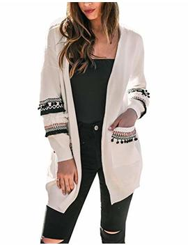 Btfbm Women Boho Long Sleeve Open Front Knit Cardigan With Pockets Bohemian Knitted Sweater Outwear Coat Tops by Btfbm
