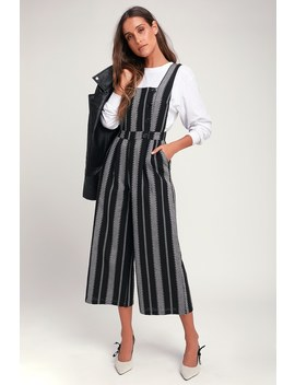 Bergen Black And White Striped Wide Leg Jumpsuit by Lush
