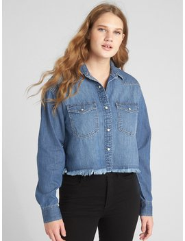 Boxy Distressed Denim Western Shirt by Gap