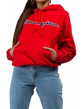 Champion Unisex Reverse Weave Chainstitch Script Cursive Spellout Logo Hoodie Sweatshirt by Champion