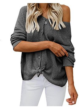 Womens Sweaters Off The Shoulder Tie Front Button Down Knit Jumper Top Cardigan Sweater by Farktop