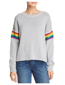 Rainbow Stripe Sleeve Sweater by John And Jenn