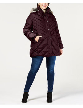 Plus Size Faux Fur Trim Hooded Quilted Coat by London Fog
