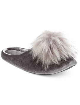 I.N.C. Pom Pom Velvet Slippers, Created For Macy's by Inc International Concepts