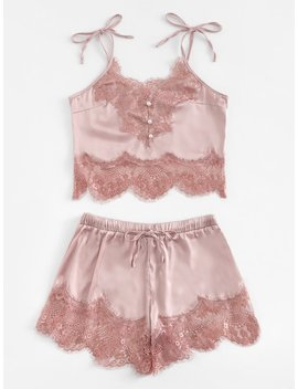 Contrast Lace Cami Top & Shorts With Thong by Sheinside
