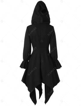 Flare Sleeve Zipper Asymmetrical Gothic Hooded  Coat by Gamiss