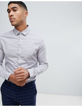 Asos Design Skinny Shirt In Light Gray by Asos Design