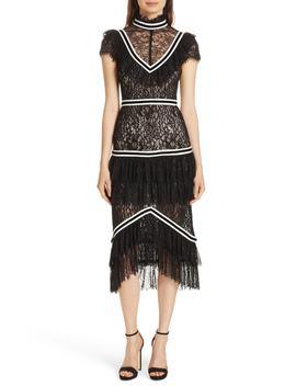 Annetta Tiered Lace Midi Dress by Alice + Olivia