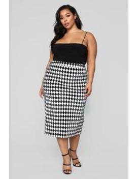 Teagan Skirt   Black/White by Fashion Nova