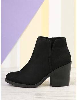 Round Toe Split Shaft Stacked Heel Ankle Boots by Sheinside