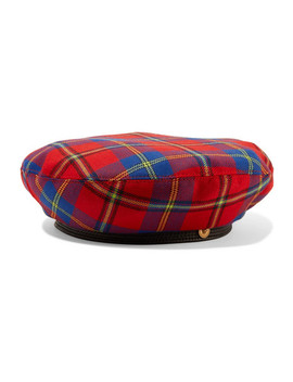 Leather Trimmed Checked Wool Beret by Versace