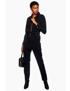 Black Corduroy Boilersuit by Topshop