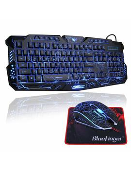 Gaming Keyboard And Mouse Combo,Blue Finger Usb Wired Computer Keyboard,3 Color Led Backlit Gaming Keyboard With Customized Mousepad by Blue Finger